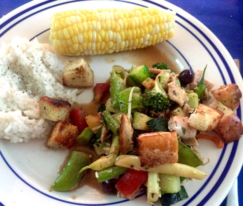Garden-veggie Panzanella Salad, Herbed Rice