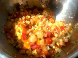 Sweet Corn, Sungold, Cantaloupe Salsa