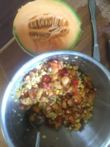 Roasted Sweet Corn and Cantaloupe Salsa