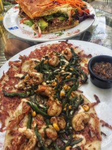 The North Garden's Shrimp Tacos and Steak Sandwich