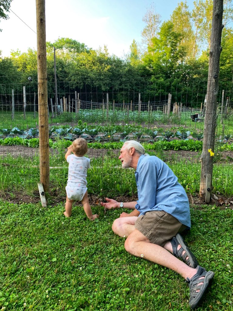 Abuelo, Callan, and the garden